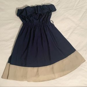 Dresses & Skirts - Navy Color Blocked Strapless Dress